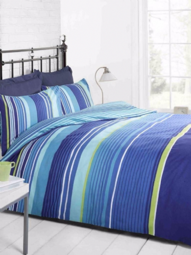 Cambridge Stripe blue, Double Duvet, Signature Home By Rapport